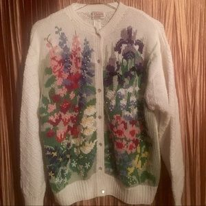 Orvis Vintage Floral Cardigan Sweater Size XL